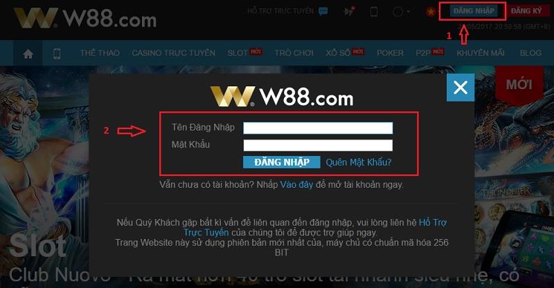 hướng dẫn đăng nhập w88.1